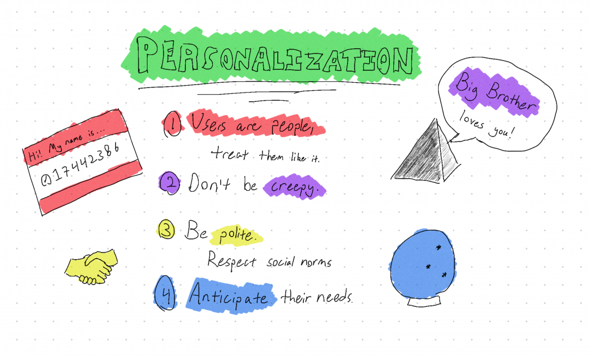 Personalization. 1. Users are people, treat them like it. 2. Don't be creepy. 3. Be polite. Respect social norms. 4. Anticipate their needs.