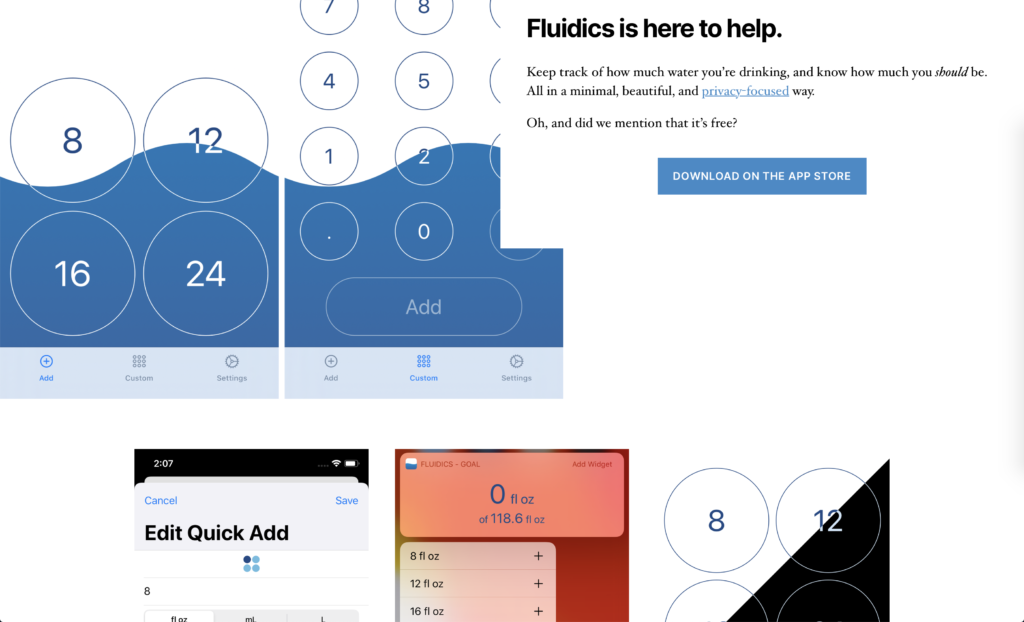 Screenshot of the new Fluidics website, fluidics.app