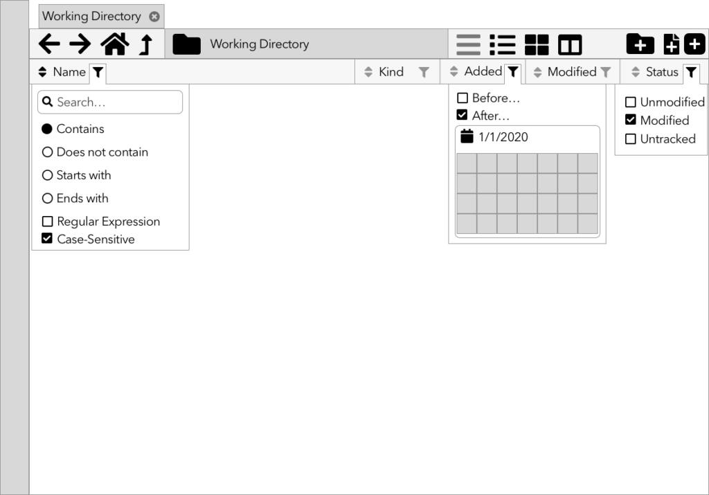 Wireframe of a filtering UI in a file browser.