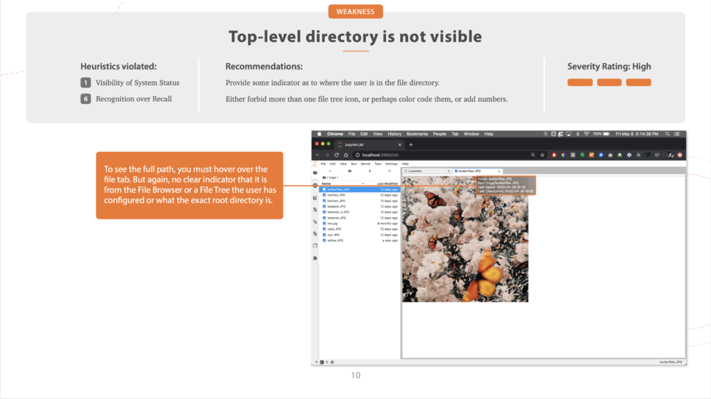Slide from a heuristic evaluation of JupyterLab, highlighting that the top-level directory is not visible in the file browser.