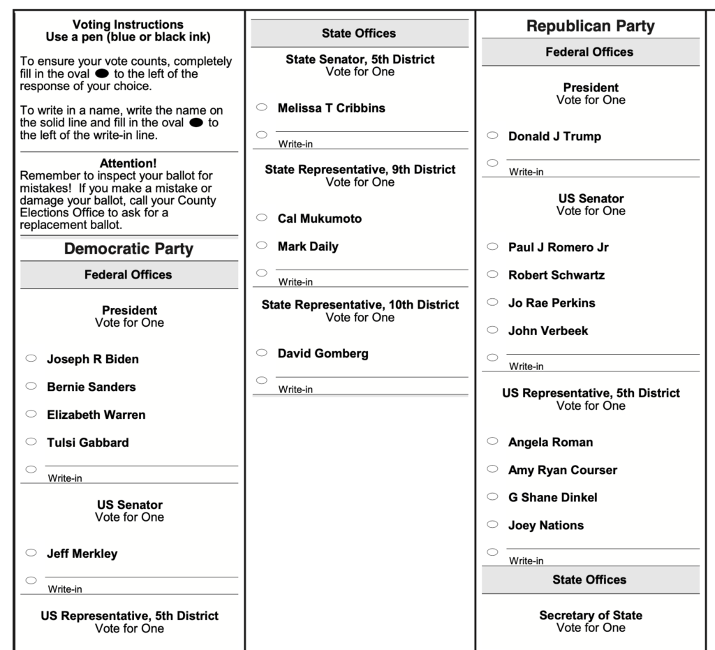Screenshot from the 2020 primary election ballot from Lincoln County, Oregon