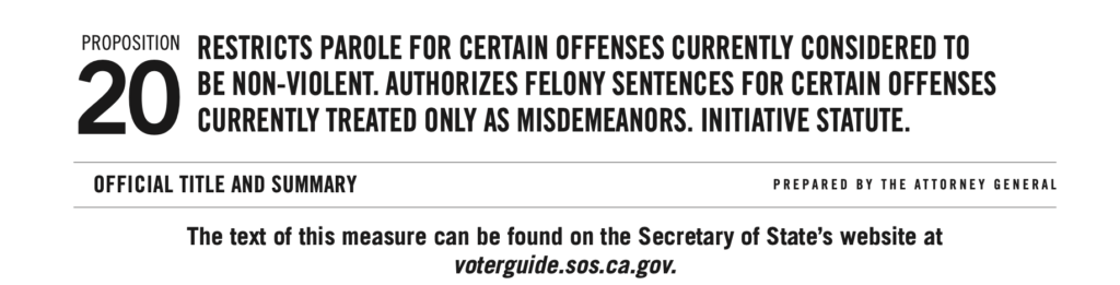 Screenshot from Proposition 20 in the 2020 California Voter's Guide