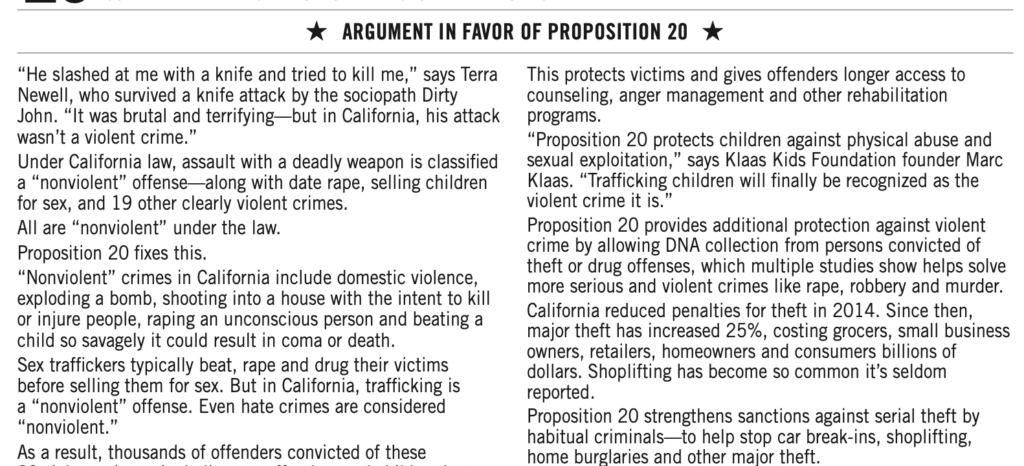 Screenshot of the Argument in Favor section of Proposition 20 in the 2020 California voter's guide.