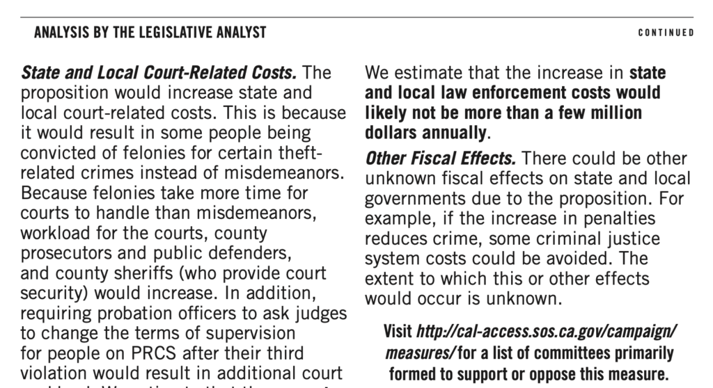 Screenshot of the Analysis by the Legislative Analyst section of Proposition 20 in the 2020 California voter's guide.