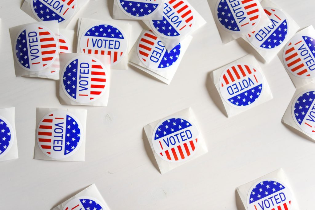Photograph of 'I Voted' stickers.