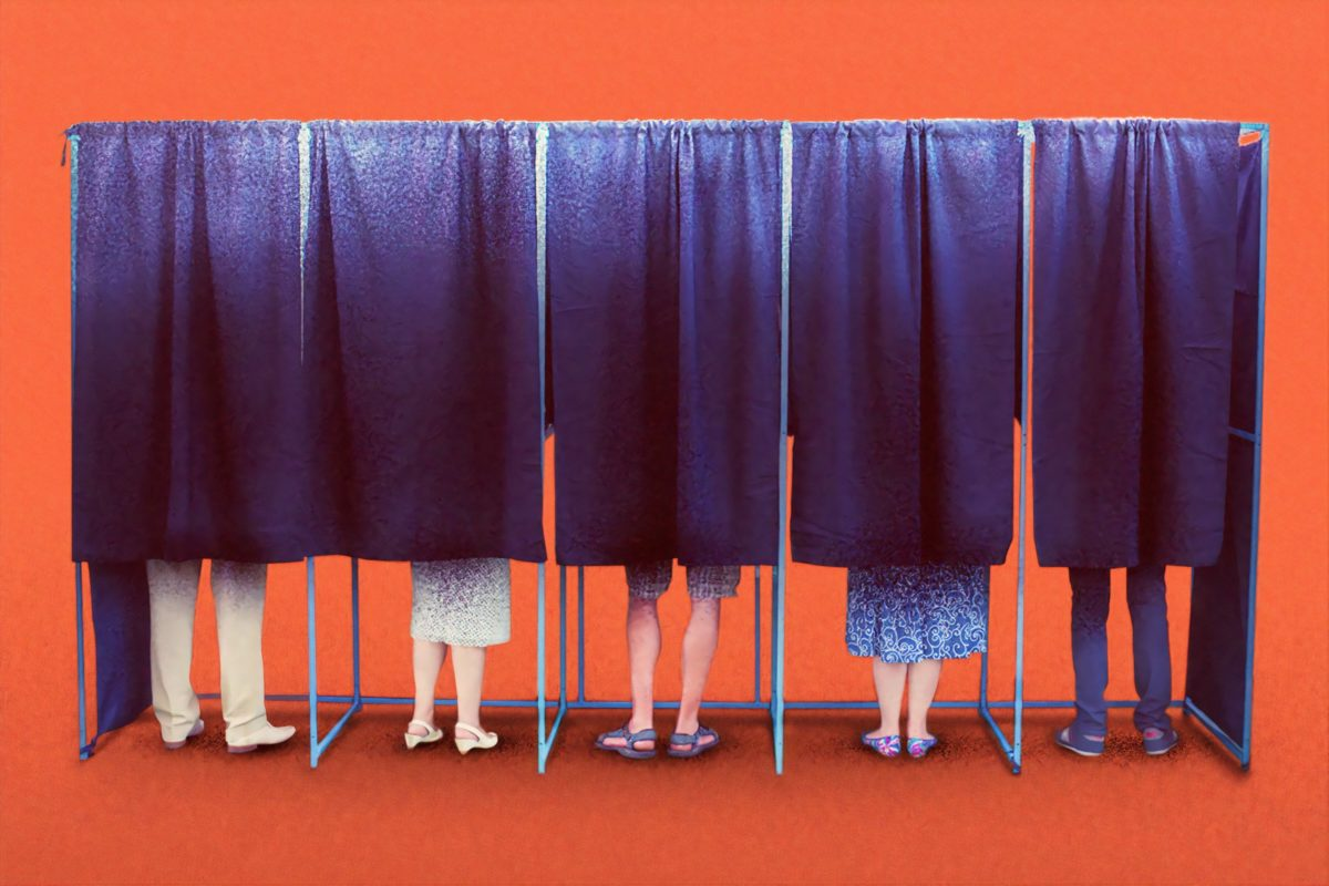 Image of several people in poll booths.