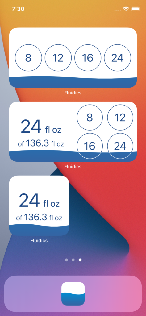Screenshot showing all three of the new widget styles in Fluidics 2.1