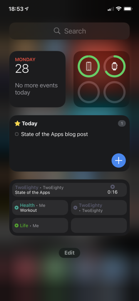 Screenshot of the iOS 14 'today' view, showing several widgets.