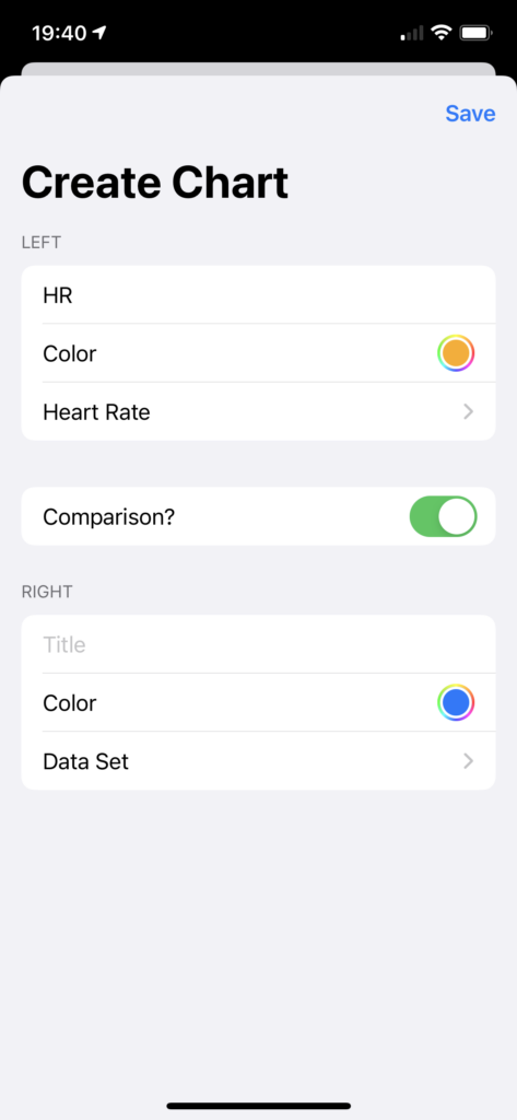 Screenshot of an iOS application showing a form: Title, Color, and Data Set; Comparison? is set to true. The first three questions are repeated.