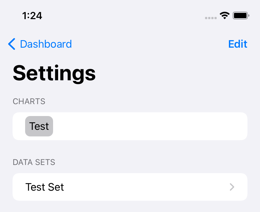 Screenshot of a Settings screen showing two lists, with an 'edit' button.