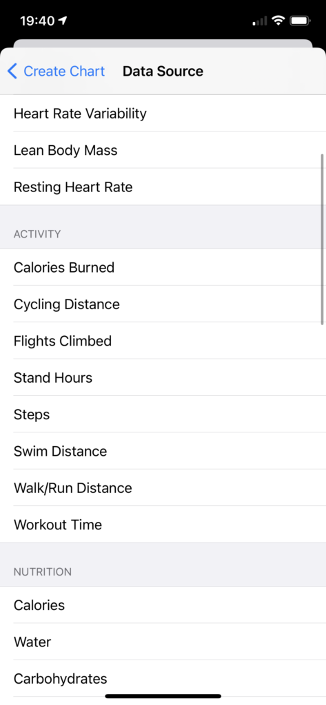 Screenshot of an iOS application showing a list to choose from, with groupings such as Activity featuring items like Calories Burned and Cycling Distance.