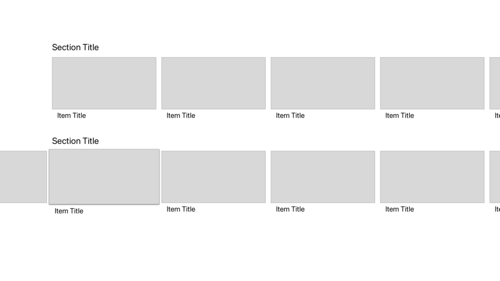 Image a tvOS wireframe, showing two horizontally-scrolling carousels.